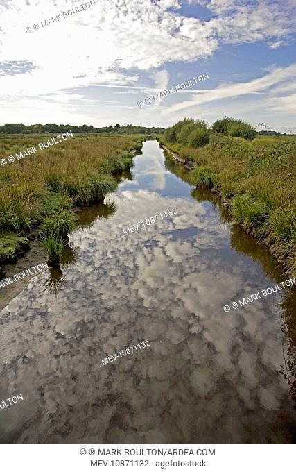 Canal in marshy wetlands. Parc Naturel de Briere Brittany