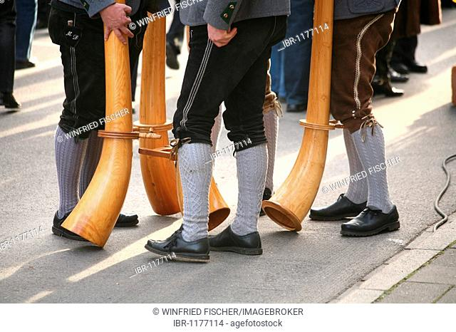 Alphorn musicians at a break