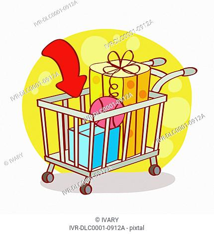 Illustration of shopping cart with gift box