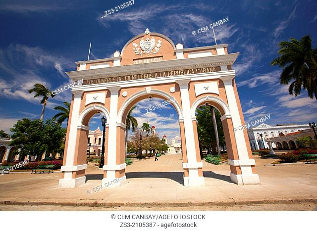 The Arc de Triumph in Jose Marti Park, Parque JosŽ Mart' near the Goverment House, Cienfuegos, Cienfuegos Province, Cuba, West Indies, Central America