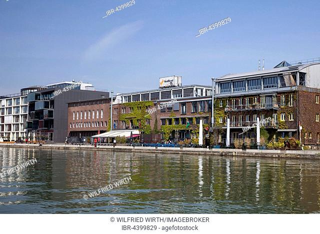 Office buildings at the Kreativkai, city harbor, Münster, Münsterland, North Rhine-Westphalia, Germany