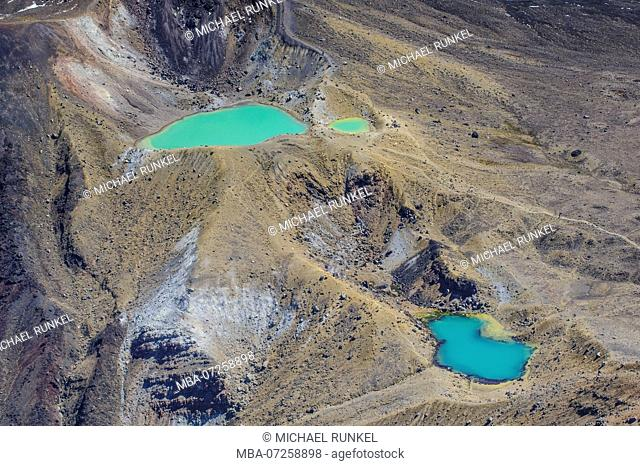 Aerial of blue and turquoise lake in the Tongariro National Park, North Island, New Zealand