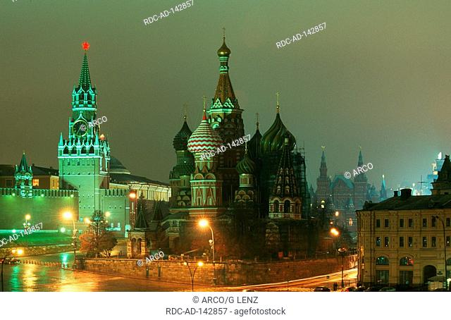 Spasskaja tower and St Basil's Cathedral Red Square Kremlin Moscow Russia