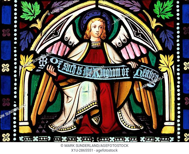 Stained Glass Window Detail at the Church of St Mary Lower Dunsforth Yorkshire England