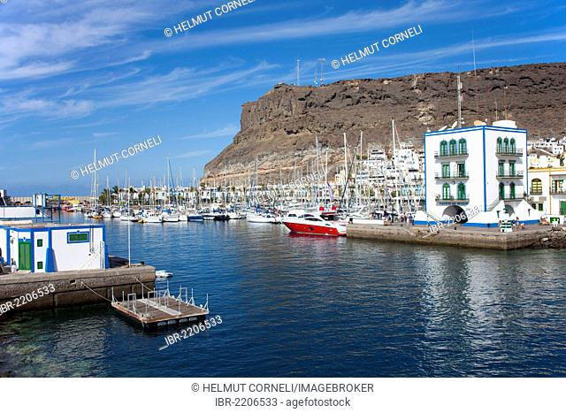 Port entrance of Puerto de Mogan, Gran Canaria, Canary Islands, Spain, Europe, Atlantic Ocean