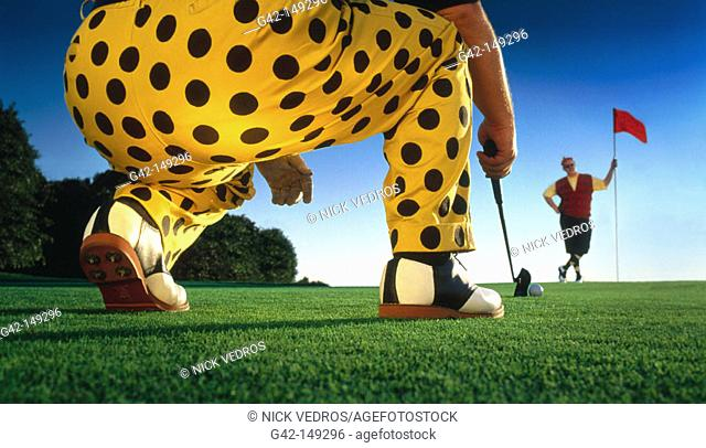 Golfer in polka dot pants