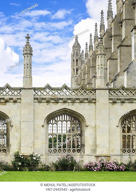 Stone arch windows of King's College Cambridge on King's Parage, Cambridge, England, UK