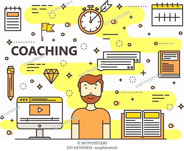 Coaching concept vector illustration. Modern thin line flat design elements, icons for web, marketing, presentation and printing