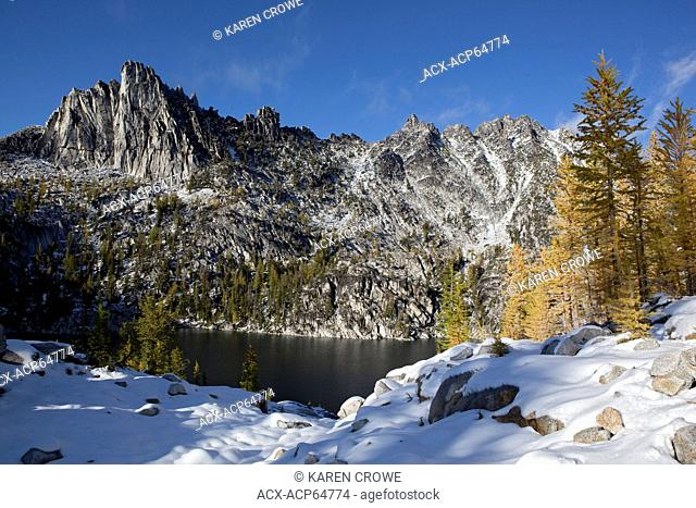 Lake Viviane, Golden Larches and Prusik Peak, Enchantments, Alpine Lakes Wilderness, Washington State, United States of America