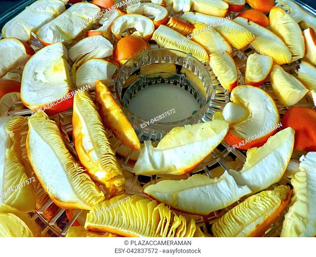 Layers of sliced Amanita caesarea mushrooms drying in an electric dehydrator