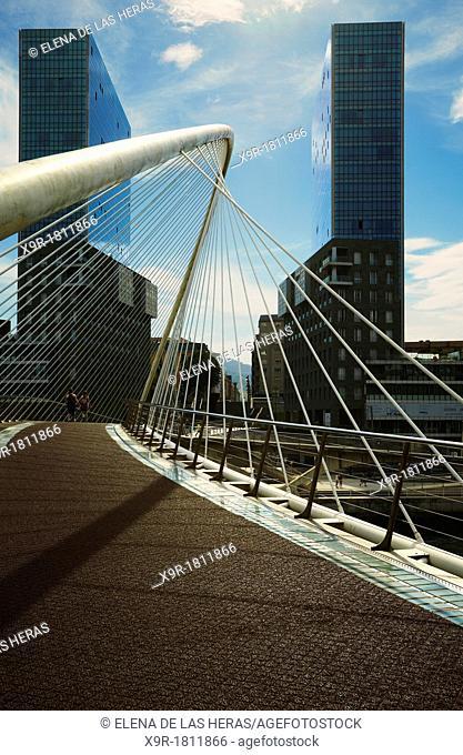 Zubizuri bridge and Isozaki Atea twin towers  Bilbao, Biscay, Basque Country, Spain
