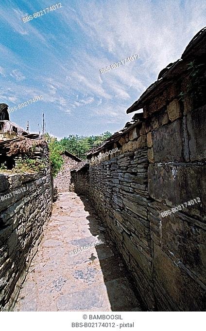 Narrow passage in The Stronghold wall in Guzhai of Shujiatang, Fenghuang, Xiangxi Prefecture, Hunan Province, People's Republic of China