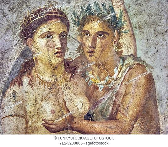 A satyr caressing a maiden a Roman erotic fresco painting from Pompeii 1st cent AD , from the Casa di L Cecilio Giocondo, inv no 110590