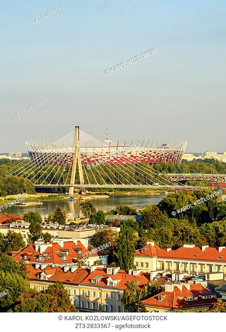 Poland, Masovian Voivodeship, Warsaw, View towards the National Stadium