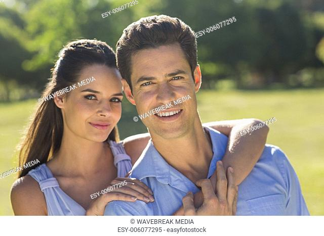Close-up of loving and happy couple at park