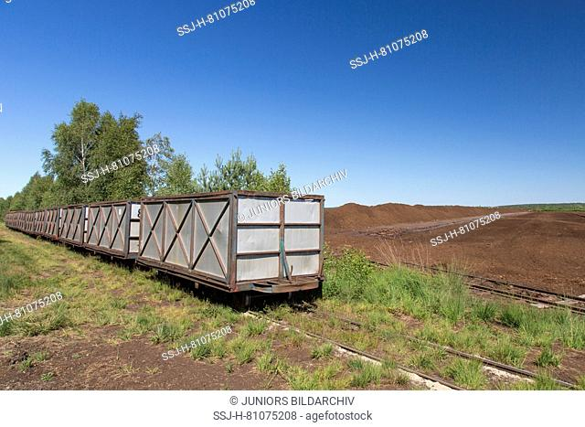 Peat extraction with the help of a peat-train at Totes Moor. Lower Saxony, Germany