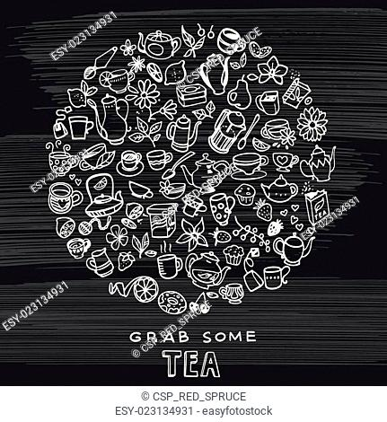 hand drawn tea background