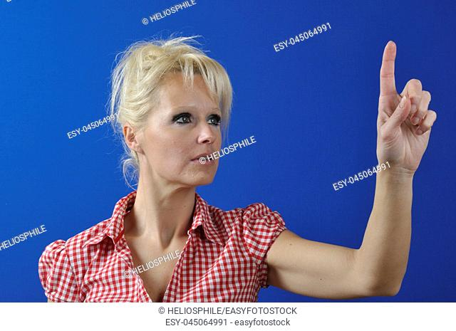 Portrait of a woman with touch screen