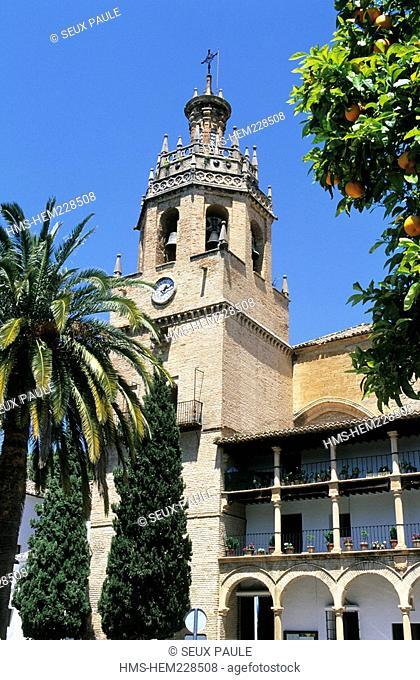 Spain, Andalusia, Ronda, White village, church of Santa Maria la Mayor