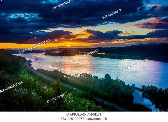 Sunset from the Vista House in Columbia River Gorge, Oregon