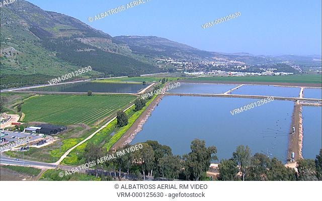 Aerial footage of Hula valley; Upper Galilee; Israel