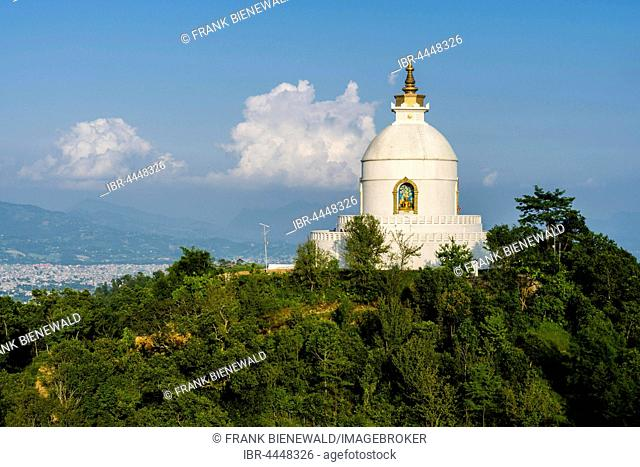 White Shanti Stupa on hill above Phewa Lake, Pokhara, Kaski District, Nepal