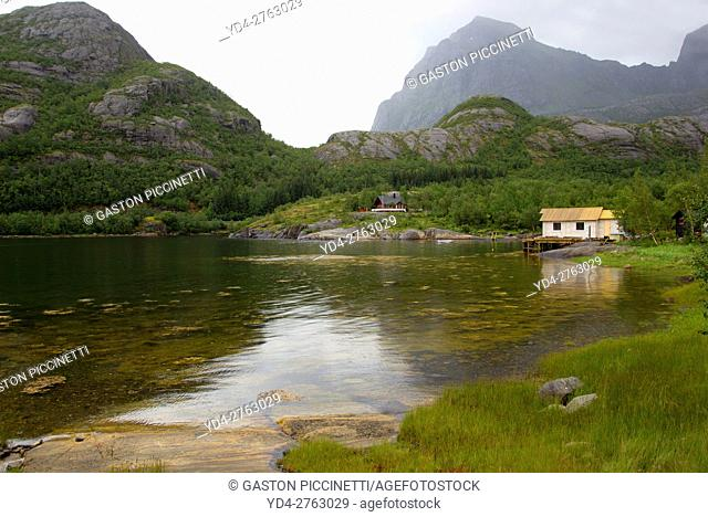 Cabins next to the fjord, Nordland, Norway