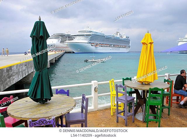 Outdoor restaurant near Caribbean Cruise Ship in Puerta Maya and Cozumel Mexico