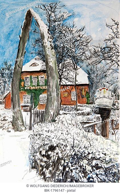 Frisian Museum, Wyk, Foehr island, North Frisian Islands, North Frisia, Schleswig-Holstein, northern Germany, painted in watercolours by Gerhard Kraus, Kriftel