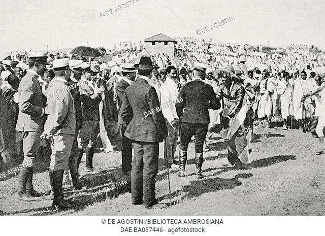 Mascal festival in Asmara, Italian authorities being greeted by indigenous leaders, Eritrea, photograph by M Carpano, from L'Illustrazione Italiana, Year XXXI