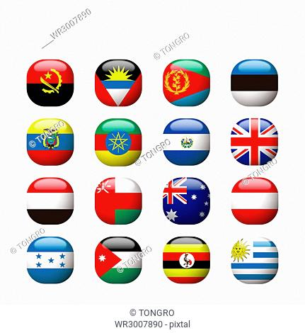 Icon set of various national flags