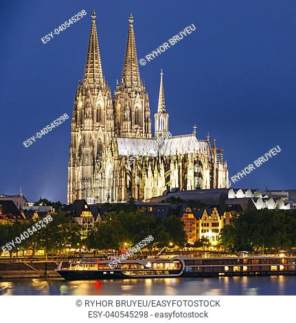 Night View Of Cologne Cathedral, Germany. Europe. World Heritage - a Roman Catholic Gothic Cathedral