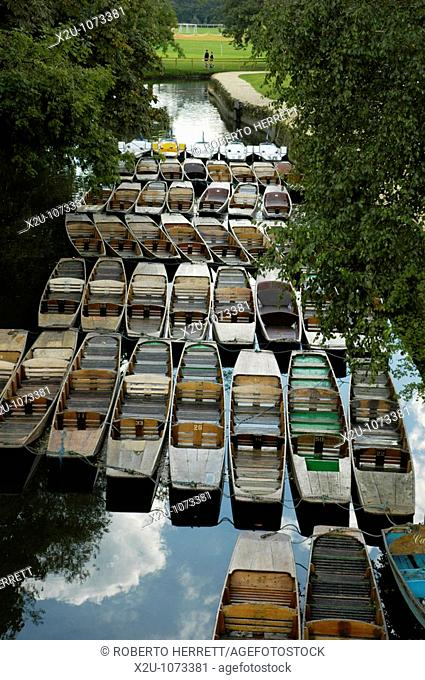 View looking down at Punts on the river Cherwell near Magdalen Bridge, Oxford, England