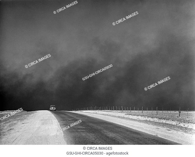 Heavy Black Clouds of Dust Rising over Texas Panhandle, Texas, USA, Arthur Rothstein, Farm Security Administration, March 1936