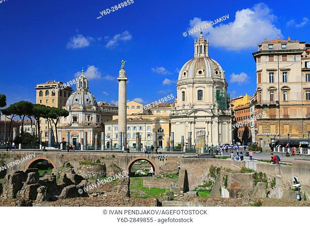 Trajan's Forum and the Church of Santa Maria di Loreto, Rome, Italy