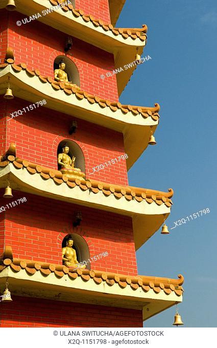 Red pagoda at the ten thousand buddhas monastery Sha Tin Hong Kong China