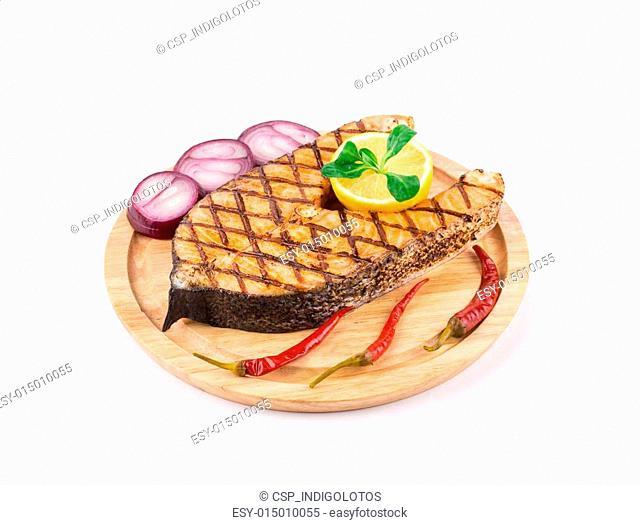 Grilled steak of salmon