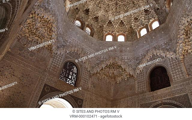 Nasrid Palaces - Interior, LA, TILT up to the Cupola of Mocarabes Stalactite Dome in the Hall of the Two Sisters at the Courtyard of the Lions