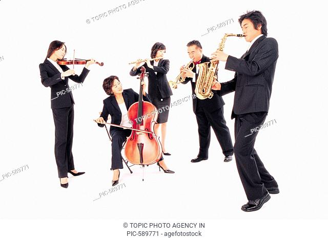 Businesspeople Playing Musical Instrument,Korean