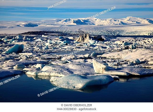 Mountains, Breidamerkurjökull, ice, floes, Europe, glacier, glacier lagoon, Island, Jökulsarlón, sceneries, volcano island, water, winter