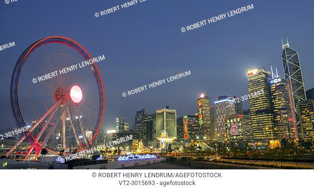 The new Observation Wheel in central financial district, Hong Kong, China