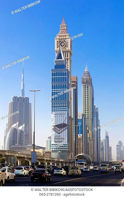 UAE, Dubai, Downtown Dubai, high rise buildings along Sheikh Zayed Road