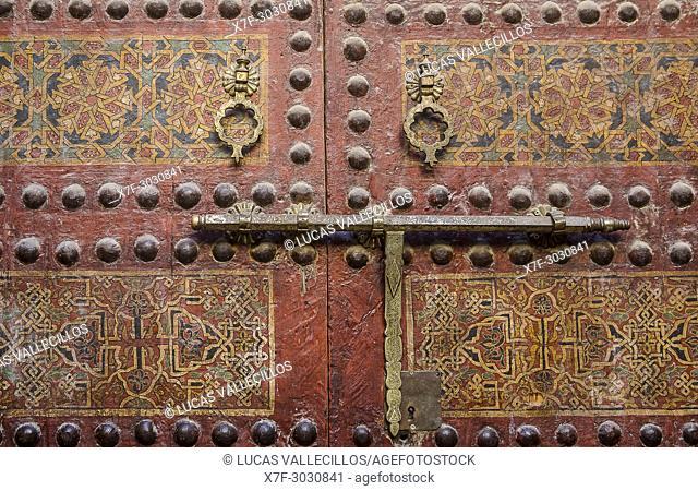 Detail, Door of Zaouia Sidi Ahmed Tijani, medina, Fez. Morocco