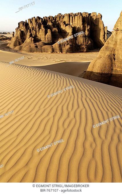 Eroded rock formations rising out of desert sand dunes, ripples in Tin Akachaker, Tassili du Hoggar, Wilaya Tamanrasset, Sahara Desert, Algeria, North Africa