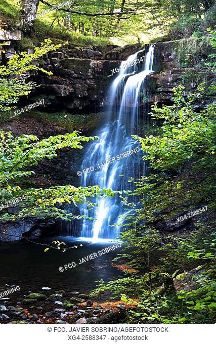 Cascada del río Hormigas, junto al Pozo de la Arbencia. Parque Natural Saja-Besaya. Valle de Cabuérniga - Bárcena Mayor - Cantabria. España