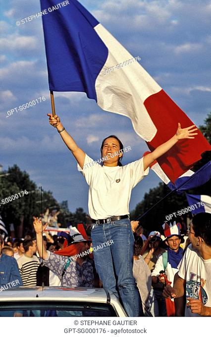 THE FERVOR OF THE FANS OF THE FRENCH SOCCER TEAM ON THE CHAMPS ELYSEE FOLLOWING THE VICTORY OF THE NATIONAL TEAM IN THE SEMI-FINALS AGAINST ITALY, PARIS