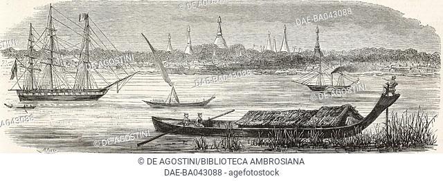 View of Yangon (formerly Rangoon), Burma, illustration from L'Illustration, Journal Universel, No 595, Volume XXIV, July 22, 1854