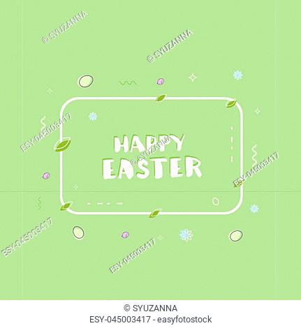 Happy Easter handwritten phrase on green background with horizontal frame and holiday eggs. Element for graphic design - poster, flyer, brochure, card, tag