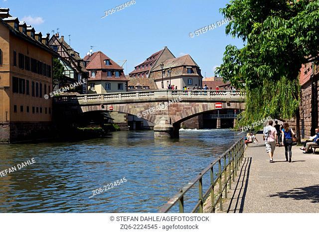 View over the River Ill in La Petite France in Strasbourg, France