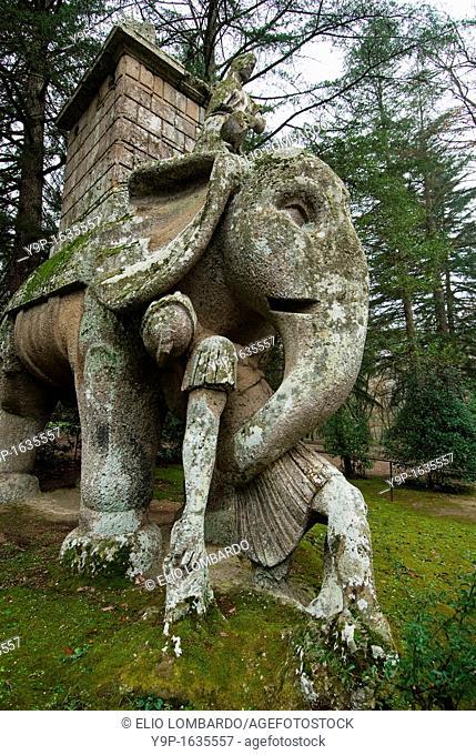 The Elephant, Parco dei Mostri monumental complex, Bomarzo, Viterbo, Lazio, Italy